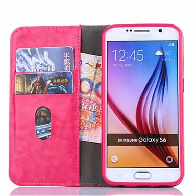 용 삼성 갤럭시 케이스 카드 홀더 / 지갑 / 스탠드 / 플립 케이스 풀 바디 케이스 단색 인조 가죽 Samsung S6 edge plus / S6 edge / S6