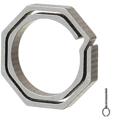 Fura nyolcszögletű titán ötvözet kulcstartó - pezsgő + szürke (kis méret)