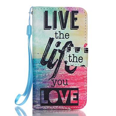 Case Kompatibilitás iPhone 5 tok Pénztárca Kártyatartó Állvánnyal Flip Minta Teljes védelem Szó / bölcselet Kemény Műbőr Bőr mert iPhone