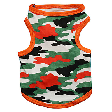 cheap Dog Clothing & Accessories-Cat Dog Shirt / T-Shirt Dog Clothes Camo / Camouflage Black Orange Cotton Costume For Spring &  Fall Men's Women's Fashion