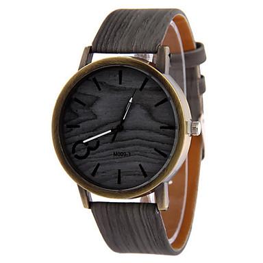 남성용 손목 시계 시계 나무 석영 캐쥬얼 시계 가죽 밴드 블랙 화이트