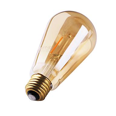 1 개 3W 180 lm E26/E27 LED필라멘트 전구 ST64 2 LED가 COB 장식 따뜻한 화이트 AC 220-240V