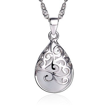 economico Collane in argento sterling-Per donna Opal sintetico Collane con ciondolo Perline Donne Di tendenza Argento sterling Argento Bianco Rosa Collana Gioielli Per Regalo Quotidiano Casual