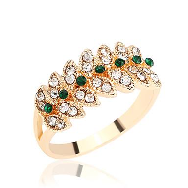 Γυναικεία Δαχτυλίδι Στρας , Κλασσικό Στρας Επάργυρο Επιχρυσωμένο Κράμα Leaf Shape Πριγκίπισσα Κοσμήματα Γάμου Πάρτι Πάρτι / Βράδυ