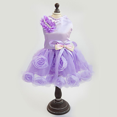 cheap Dog Clothing & Accessories-Dog Dress Dog Clothes Floral / Botanical Purple Pink Fabric Costume For Spring &  Fall Summer Women's Wedding Fashion New Year's