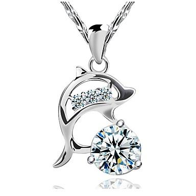Dame Diamant Kvadratisk Zirconium simuleret Halskædevedhæng Sølv Kvadratisk Zirconium Delfin Dyr Damer Mode Sølv Halskæder Smykker Til Bryllup Fest Daglig Afslappet