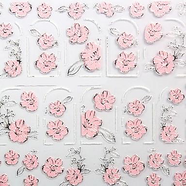 꽃 뜨거운 구호 핑크 네일 쥬얼리