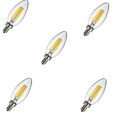 5pcs 2W 220 lm E14 LED Filament Bulbs C35 4 leds High Power LED Decorative Warm White Cold White AC 220-240 V