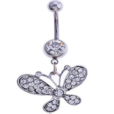 여성 바디 쥬얼리 Navel & Bell Button Rings 합금 모조 다이아몬드 화이트 보석류 일상 캐쥬얼 1PC