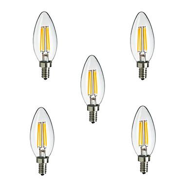 HRY 5pcs 2.5W 250 lm E14 LED Filament Bulbs CA35 4 leds High Power LED Decorative Warm White Cold White AC 220-240V
