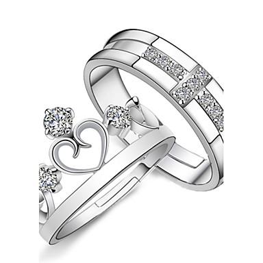 Női Páros gyűrűk Eljegyzési gyűrű Szerelem Menyasszonyi Divat Állítható Ezüst Strassz Križ Szív Jelmez ékszerek Esküvő Parti Évforduló
