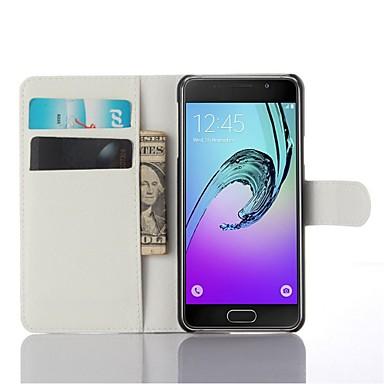 voordelige Galaxy A-serie hoesjes / covers-hoesje Voor Samsung Galaxy A3(2016) Kaarthouder / met standaard / Flip Volledig hoesje Effen Kleur PU-nahka