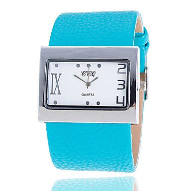 여성용 패션 시계 석영 캐쥬얼 시계 가죽 밴드 화이트 블루 브라운 그린 멀티컬러