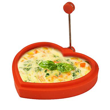실리콘 하트 모양의 모양의 달걀 링과 팬케이크 메이커 계란 튀김 튀김 팬케이크 요리 몰드 (임의의 색)