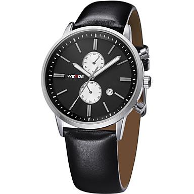 저렴한 남성용 시계-WEIDE 남성용 손목 시계 항공 시계 석영 가죽 블랙 30 m 방수 달력 아날로그 사치 클래식 - 골드 / 블랙 실버 / 블랙 화이트 / 실버 2 년 배터리 수명 / 스테인레스 스틸 / Maxell626 + 2032