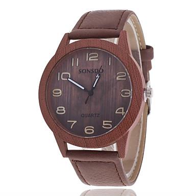 남성용 시계 나무 패션 시계 석영 나무의 캐쥬얼 시계 가죽 밴드 참 브라운