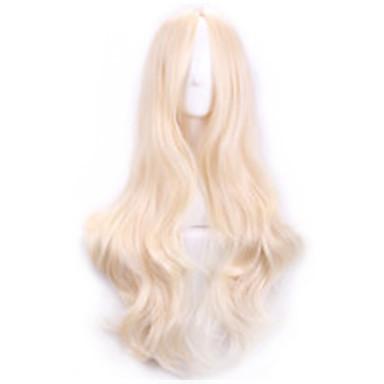 Συνθετικά μαλλιά Περούκες Σγουρά Στη μέση Χωρίς κάλυμμα Καρναβάλι περούκα Απόκριες Περούκα Μακρύ Ξανθό