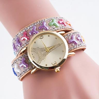 아가씨들 패션 시계 모조 다이아몬드 시계 캐쥬얼 시계 석영 PU 밴드 멀티컬러