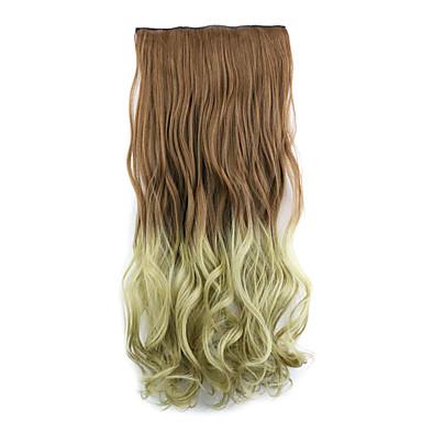 어두운 갈색과 아마 길이 60cm 합성 그라데이션 5 장의 카드 머리 긴 직선 머리 가발 (색상 30pt24)