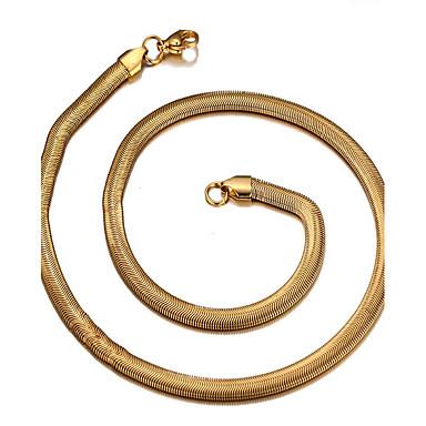 billige Mode Halskæde-Herre Dame Kort halskæde Titanium Stål 18K Guld Slange Afslappet Mode Gylden Halskæder Smykker Til Daglig Afslappet