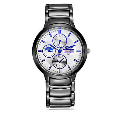 남성용 손목 시계 석영 달력 방수 캐쥬얼 시계 스테인레스 스틸 밴드 블랙