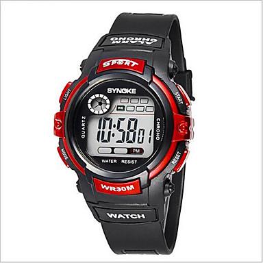 SYNOKE 아동 스포츠 시계 손목 시계 디지털 LCD 달력 크로노그래프 방수 경보 야광의 고무 밴드 블랙