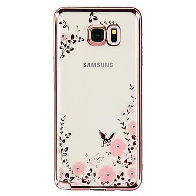 Case Kompatibilitás Samsung Galaxy Samsung Galaxy Note Strassz Galvanizálás Átlátszó Minta Fekete tok Virág TPU mert Note 5 Note 4 Note 3