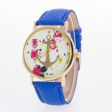 아가씨들 패션 시계 캐쥬얼 시계 석영 PU 밴드 꽃패턴 블랙 화이트 블루 레드 브라운 핑크 로즈