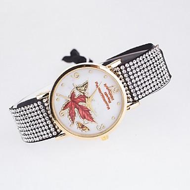 여성용 석영 손목 시계 캐쥬얼 시계 PU 밴드 꽃 캐쥬얼 나비 패션 멀티컬러
