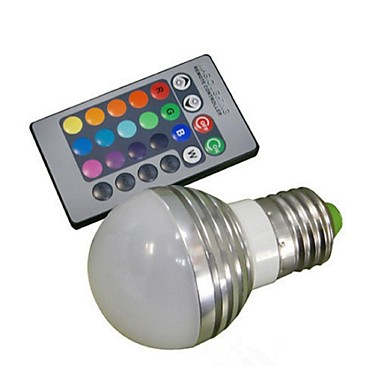 E26/E27 LED gömbbúrás izzók A50 1 led Nagyteljesítményű LED Távvezérlésű RGB 100-180lm 2000-3500K AC 85-265V