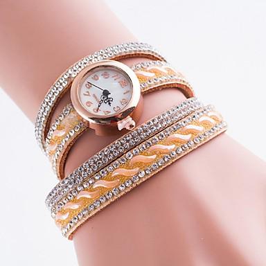 여성용 석영 모조 다이아몬드 시계 팔찌 시계 모조 다이아몬드 캐쥬얼 시계 PU 밴드 보헤미안 패션 멀티컬러