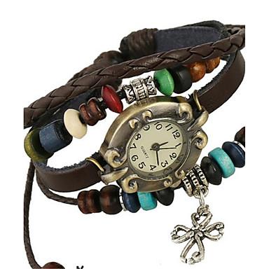 여성용 디지털 팔찌 시계 캐쥬얼 시계 가죽 밴드 보헤미안 패션 브라운