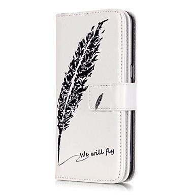 검은 깃털 패턴은 구 카드는 갤럭시 S3 / S4 / S5 / S6 / S6 가장자리 / S7 / S7 에지 PU 가죽 소재 휴대 전화 케이스를 양각