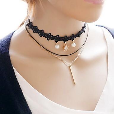 Női Szexi Divat Rövid nyakláncok Csipke Anyag Rövid nyakláncok , Napi Hétköznapi
