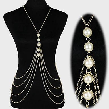 hesapli Vücut Takıları-Kadın's Vücut Mücevheri Göbek Zinciri / Vücut Zinciri / Belly Chain / koşum Kolye İnci Altın / Gümüş İfade / Püskül / Avrupa İnci / İmitasyon İnci / Altın Kaplama Kostüm takısı Uyumluluk Yılba