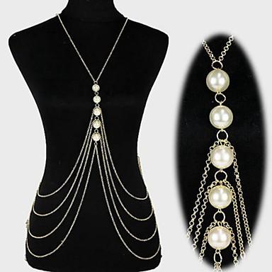 preiswerte Körperschmuck-Damen Körperschmuck Bauchkette / Körper-Kette / Bauchkette / Harness Halskette Perlen Gold / Silber Erklärung / Quaste / Europäisch Perlen / Künstliche Perle / vergoldet Modeschmuck Für Weihnachts