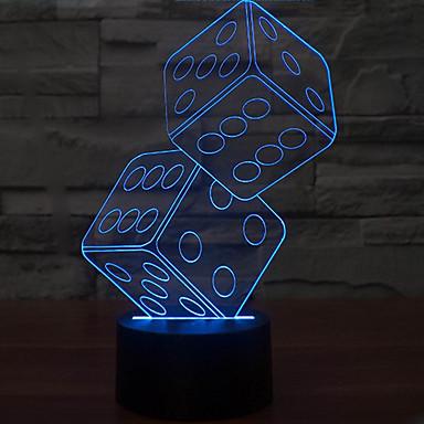 1 db 3D éjszakai fény Tompítható USB Többszínű Műanyag 1 Lámpa Nem tartalmaz elemeket 23.0*17.0*5.0cm
