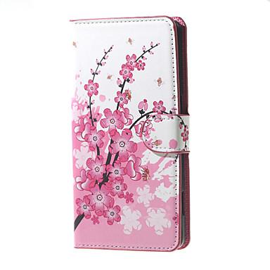carteira de couro da flor de ameixa padrão caso estande aleta com slot para cartão para o Microsoft lumia 650