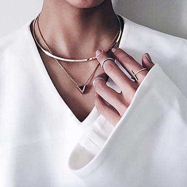 preiswerte Halsketten-Damen Halsketten Pendant Halskette Tattoo-Hals Geometrisch damas Tattoo Stil Retro Modisch Aleación Golden Modische Halsketten Schmuck Für Party Alltag Normal