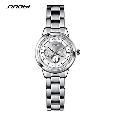 SINOBI 여성용 패션 시계 팔찌 시계 석영 방수 충격 방지 합금 밴드 사치 빈티지 우아한 실버