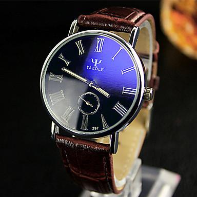 YAZOLE 남성용 드레스 시계 손목 시계 석영 / 가죽 밴드 캐쥬얼 블랙 화이트 레드 브라운