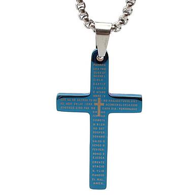 성경 용지 티타늄 목걸이 펜던트 복고풍 크로스 - 블루 크기