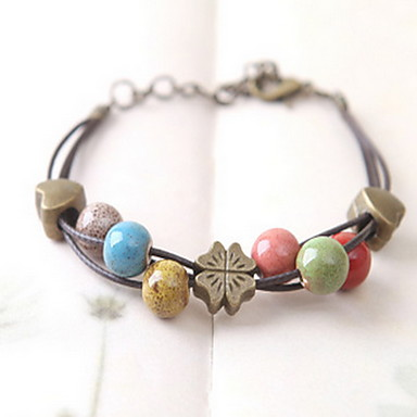 Women's Strand Bracelet Adjustable Ceramic Others Four Leaf Clover Jewelry Daily Casual Costume Jewelry Coffee