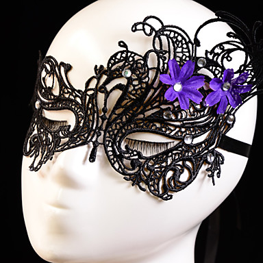 보라색 꽃 장식과 함께 파티 블랙 / 화이트 레이스 마스크