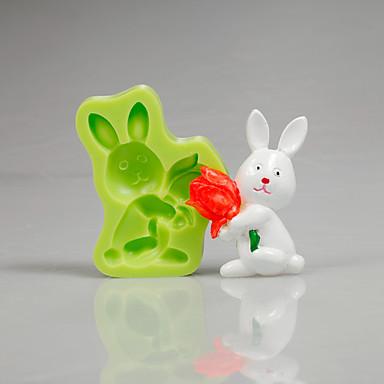 부활절 토끼 튤립 실리콘 곰팡이 퐁당 케이크 컵케잌은 캔디 폴리머 색상을 무작위로 장식 도구