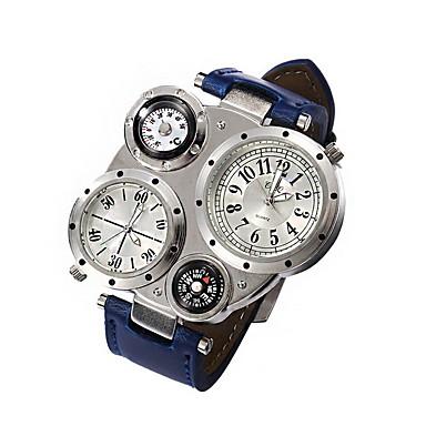 남성 밀리터리 시계 드레스 시계 방수 / 석영 가죽 밴드 캐쥬얼 블랙 블루 브라운
