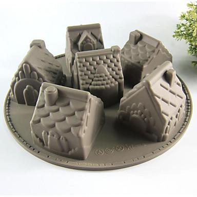 크리 에이 티브 주방 가젯 / 최고의 품질 / 고품질 Silicone Cake Molds 6 Even House A Microwave Oven Tool 실리콘 26*26*6.3
