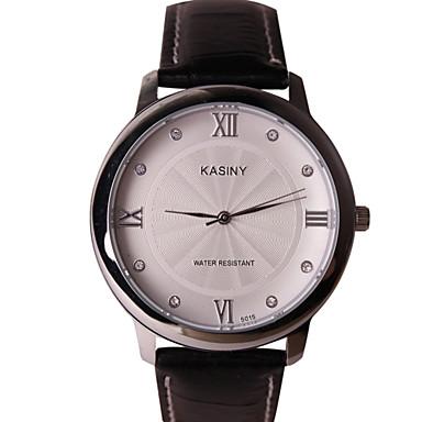 남성용 패션 시계 석영 캐쥬얼 시계 가죽 밴드 블랙 브라운