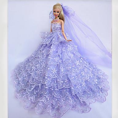 웨딩 드레스 에 대한 바비 인형 레이스 공단 드레스 에 대한 여자의 인형 장난감