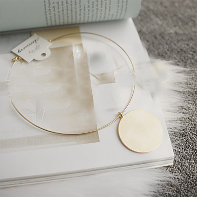 Női Nyaklánc medálok Nyilatkozat nyakláncok Circle Shape Ötvözet Személyre szabott Divat Méretes ékszerek minimalista stílusú Európai